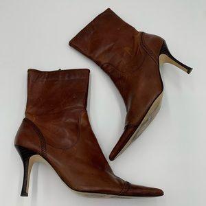 Nine West brown pointy toe booties